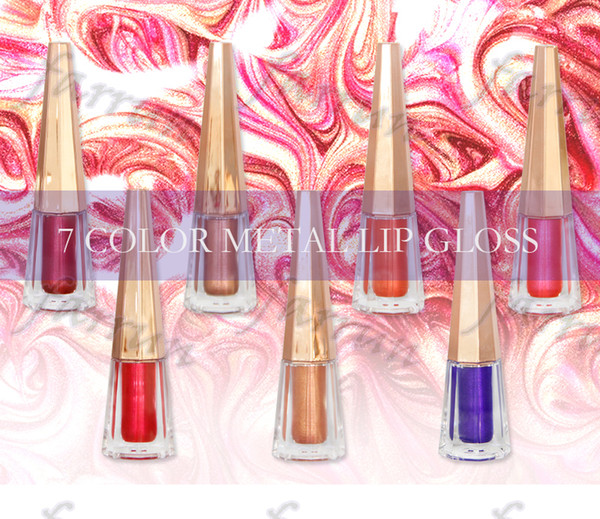 Metal color shimmer non cup stick lip gloss 7 color choice party make up queen factory supply accept your logo print fresh stock