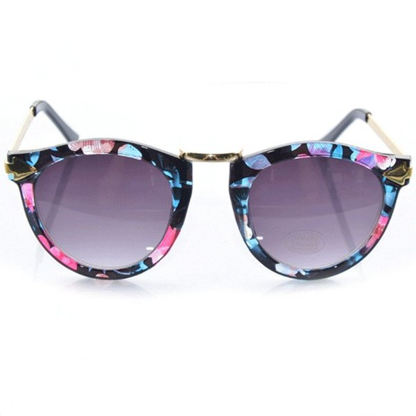 Summer Design PC Lens Colorful Floral Eyewear Trendy Acetate Frames Round Sunglasses For Beauty Metal Arrow Cat Eye Sun Glasses