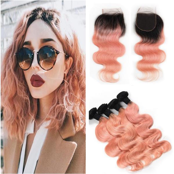 Rose Gold Human Hair Ombre With Lace Closure Body Wave Brazilian Virgin Unprocess Hair Bundles With Lace Closure 4Pcs/Lot