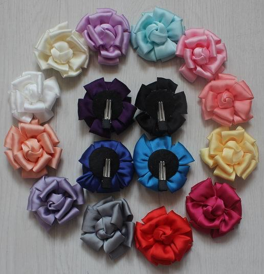20pcs 8cm satin fabric rose clip flowers for girls hair accessories,lined alligator hair clip flowers for Baby kids