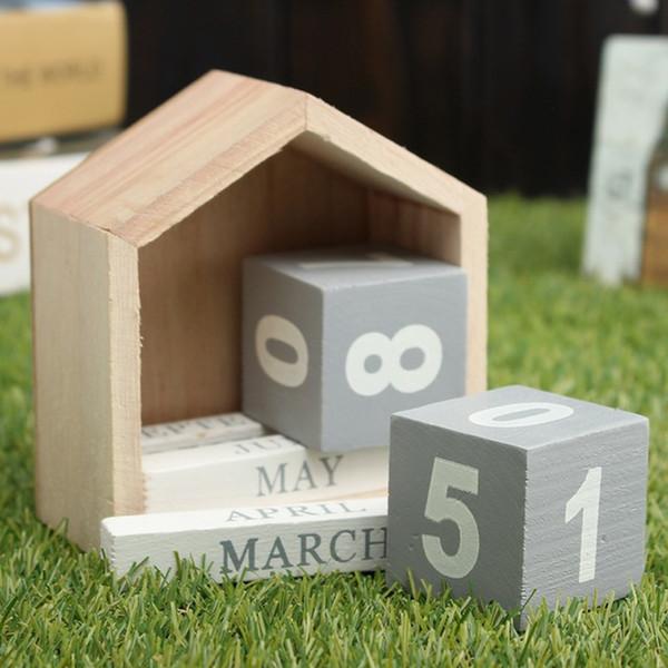 best selling New fashion Vintage Design House Shape Perpetual Calendar Wood Desk Wooden Block Home Office Supplies Decoration Artcraft