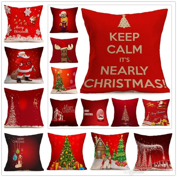 Christmas Pillow case Cartoon Santa Claus Milu Deer Cushion Cover Woven Cotton Linen Pillowcases Sofa Chair Seat Home Decorative b503