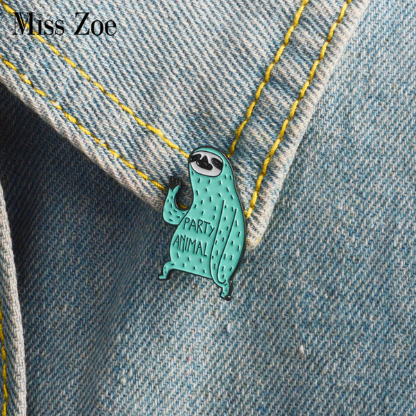 Miss Zoe Cartoon sloth enamel pin Party animal badge brooch green Lapel pin for Denim Jeans shirt bag Funny jewelry Gift for friends