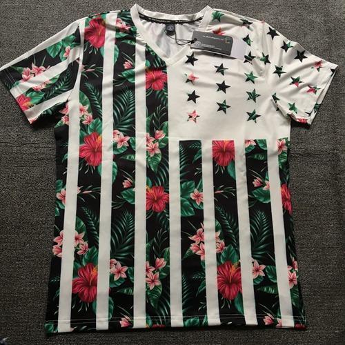 Commercio all'ingrosso 2018 Estate mens designer t shirt Moda V collare Stretch corpo tee shirt uomo pianta fiore stampa 3D hip hop Tee