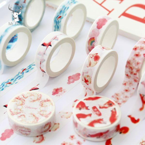 Cute Cartoon Animal Flower Japanese Masking Washi Tape Decorative Adhesive Tape Decor DIY Scrapbooking Sticker Label Stationery 2016