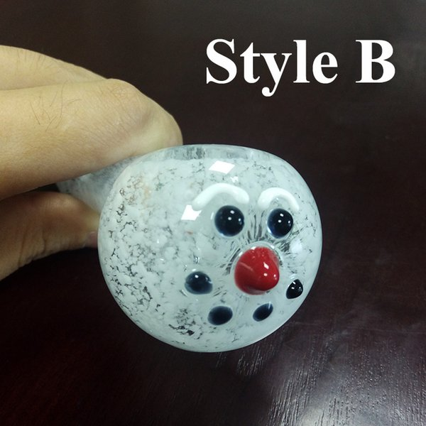 Snowman Glass Pipe Colorful Smoking Accessories Pipes Oil Burner Burning Snowflake Glass Heady tobacco Hand spoon Pipe Cute Christmas Gifts