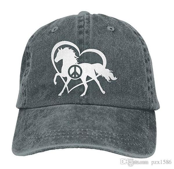 pzx @ Baseball Cap für Herren Damen, Peace Love und Pferde Womens Cotton Einstellbare Jeans Mütze Hut Multi-Color optional