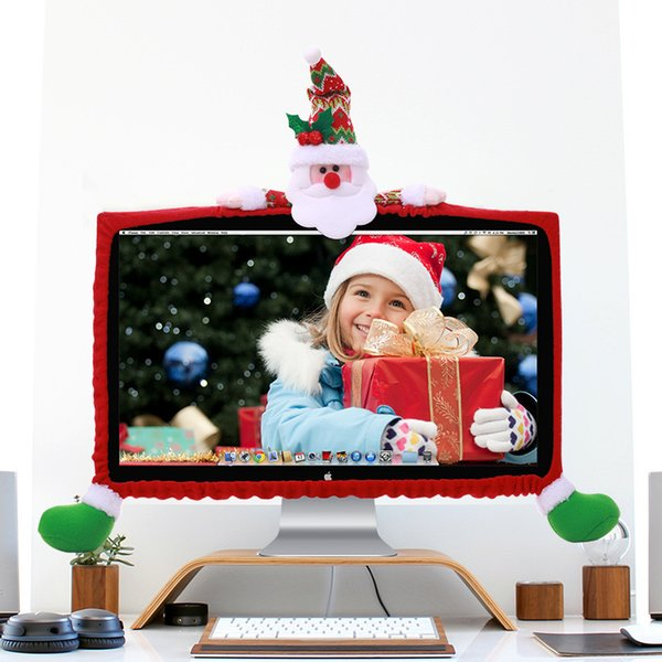 Christmas 19 to 27 inch Computer Cover TV Cover Christmas Decorations Santa Claus LED Covers Xmas Ornament Christmas Home Decor Y18102609