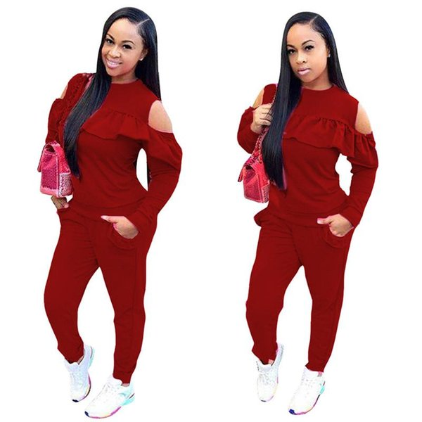 Ruffles Women's Set Autumn winter fashion sexy women two pieces suits casual nightclub party tracksuit plus size