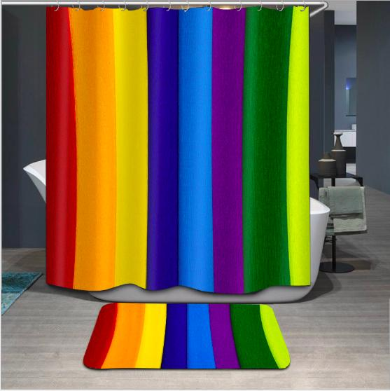 Multi-color vertical bar pattern 3D Print Custom Waterproof Bathroom Modern Shower Curtain Polyester Fabric Bathroom Curtain Door mat sets
