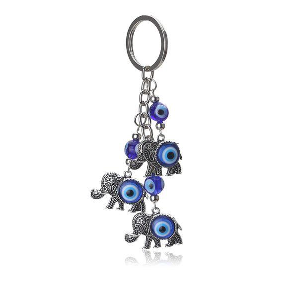 1 pc Blue Evil Eye Charms Porte-clés Éléphant Pendentif Porte-clés Alliage Gland De Voiture Porte-clés Bijoux De Mode Cadeaux