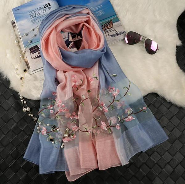 2018 summer New brand scarf women's long shawl Mulberry silk embroidered luxury scarf gradient designer scarf scarfs for women 143