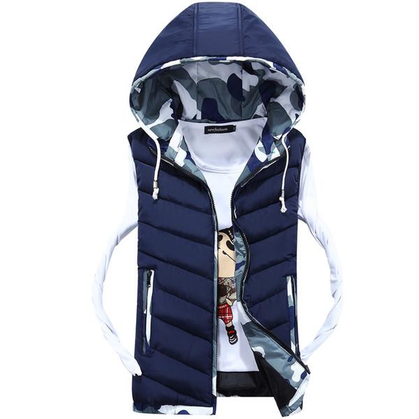 Rlyaeiz 2018 Men's Vest Autumn Winter Men Jacket Sleeveless Casual Camouflage Color Patchwork Male Waistcoat Slim Fit Vests