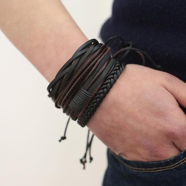 2018 New Handmade Unisex Leather Bracelets Adjustable Multilayer Bead Bracelet Men/Women Bohemian Vintage Leather Charm Bracelet