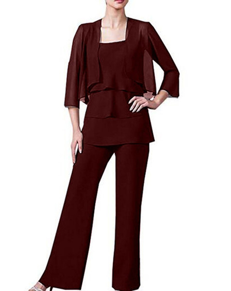 Trendy Simple Chiffon Lady Mother Pants Suits With Jacket Evening Dress Mother Of The Bride Dress pant Suit Gowns Formal Party Brown Custom