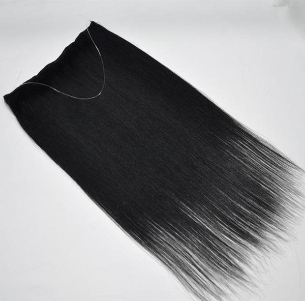 Brésilien Straight Flip En noir Extensions de couleur Cheveux 12 - 28 pouces 1Pcs Ensemble 120g 140g 160g Halo Extensions de cheveux humains Lady
