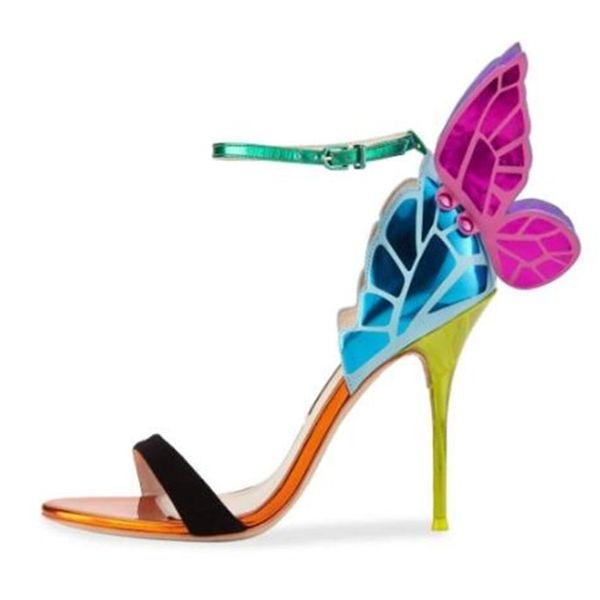 Renkli Kelebek Ince Yüksek Topuklu Kadın Sandalet Toka Kayış Zarif Moda Kanat Ayakkabı Kadın Parti Elbise Pompaları