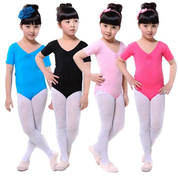 short sleeves gymnastics leotard for girls ballet kids lyrical children toddler lycra black dancewear dance costume jumpsuit kid