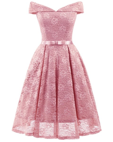 Spring and summer new fashion women's sexy dress, a word collar wrapped chest lace long lace dress party dress.