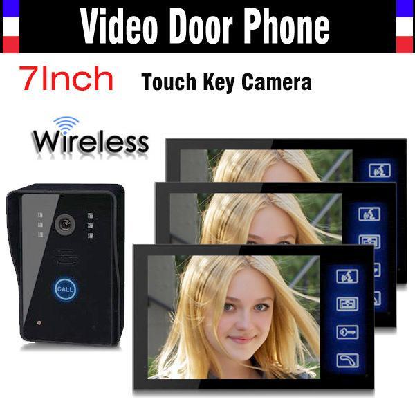 1V3 Wireless Video Door Phone Doorbell Intercom System 7 Inch Touch Key IR Night Vision Camera Rain Proof 1 Camera 3 Monitors
