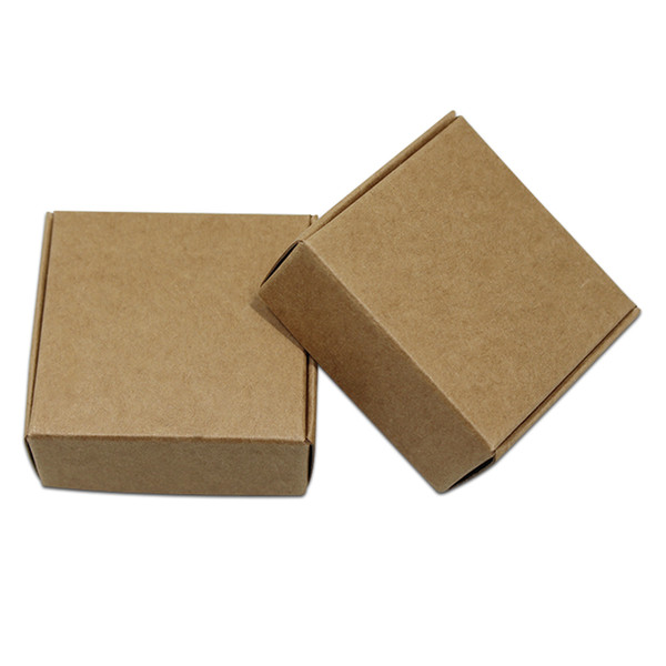 100pcs/Lot Event Small Blank Decoration Paper Carton Box Wedding Gifts Packing Kraft Paper Jewelry Package Craft Boxes Folding