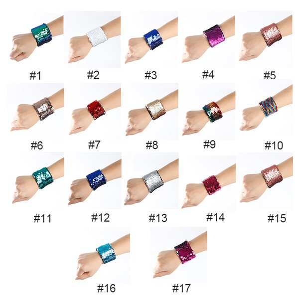 top popular Mermaid Sequin Bracelet Wristband Cuff Sequins Bracelets Women Charm Jewelry Girl Wedding Favors Mermaid Bracelet Wristband Bangle 2019