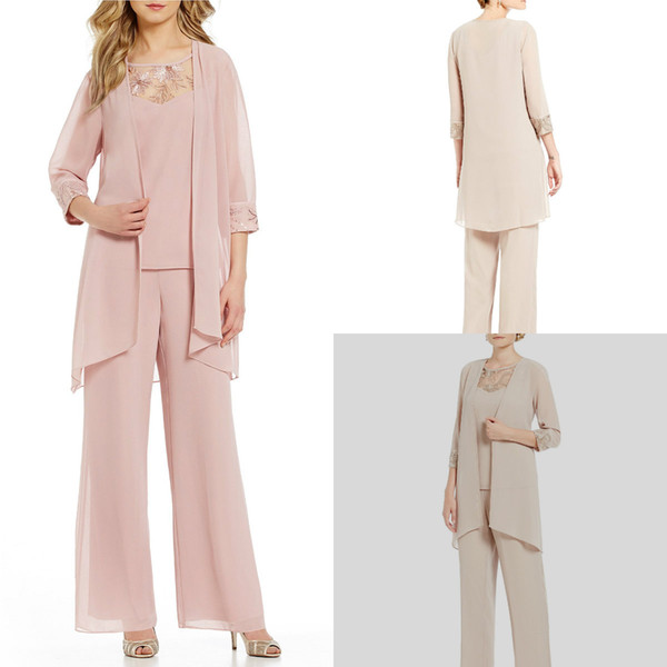 Mother Of The Bride Pant Suits Pink Chiffon Plus Size Mother Of The Bride Dress With Jacket Three Pieces 3/4 Long Sleeve Evening Gowns