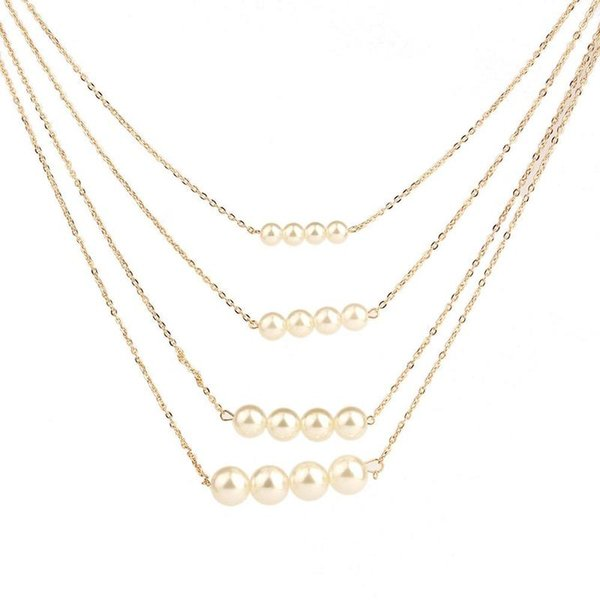 High Grade Fashion Female Fresh Multi Layers Jewelry Simulated Pearl Choker Necklaces Women Girl Sweater Chain Necklace YXL6819