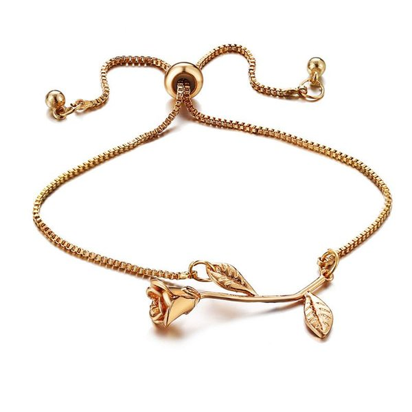 Fashion Rose Flower Charm Bracelet Beads Adjustable Bracelet & Bangle For Women Pulseras Mujer Wedding Bridal Jewelry Gift 3 Colors