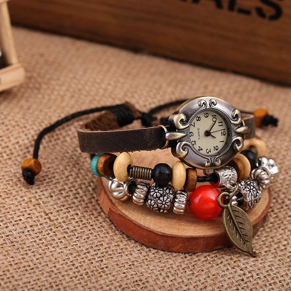 3 Strand Women Bracelet Watch Leather Adjustable Wrist Watches Girl Charm Vintage Ethnic Quartz Fashion Wristwatch Dropship Saat
