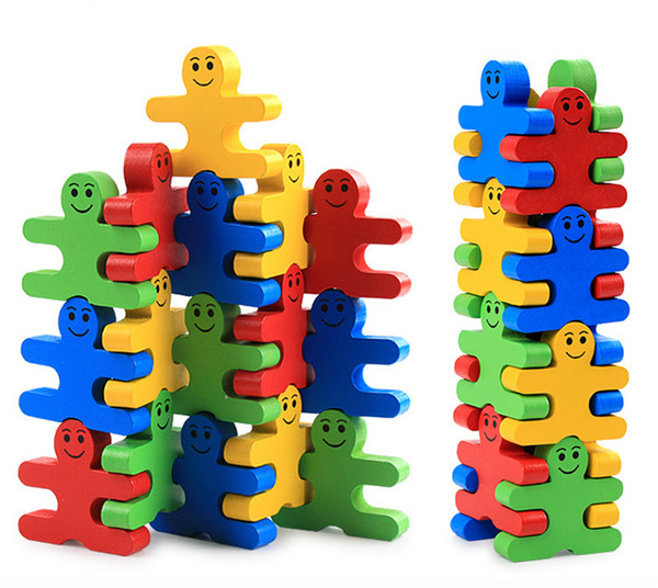 Toy Wooden Jenga Human Shaped Colorful Balance Building Blocks Puzzle Game Stacking Blocks Set for Baby Kids Birthday Gift