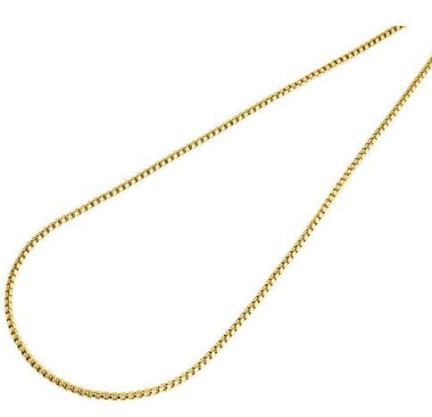 10K Real Yellow Gold Fill Mens / Ladies 1.5 MM Round Box Chain Necklace 18 - 24 Inch