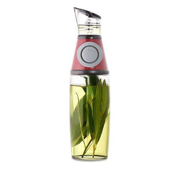 Recién Presione Medida Sello de botella de aceite Arriba Botellas medidoras a prueba de fugas Vidrio claro Ración Licor Aceite Vinagre Dispensador para el hogar