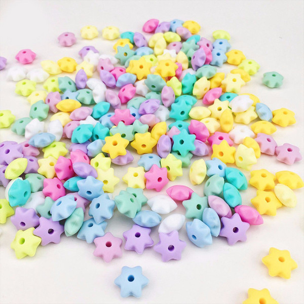 top popular Mini Hexagram Star Silicone Beads 10mm Baby Teething Chewable Loose Beads DIY Nursing Necklace Pacifier Accessory Food Grade Silicone 2021
