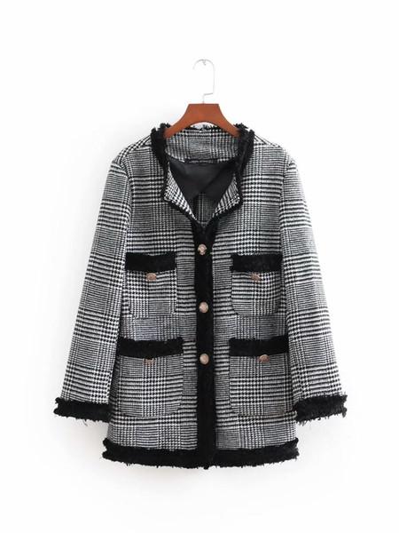 BB75-8402 Veste de costume décontractée longue en tweed à la mode européenne