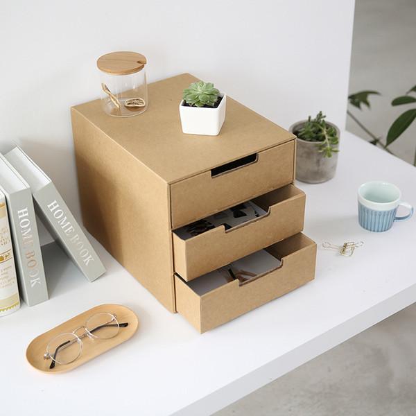 A4 3 Layer Kraft DIY Paper Desktop Drawer-Style Storage Box Tabletop File Business Document Office Organizer Desk Accessories