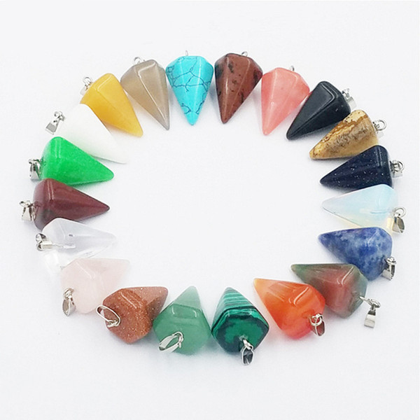 Fashion Natural Stone Pyramis Shape Pendants Charms Red Carnelian Onyx For Necklace Jewelry Making