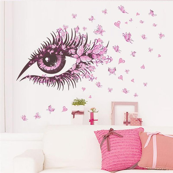 Fairy Girl Pink Eye Wall Sticker For Kids Rooms with butterflies Decoration Living Room Bedroom Decor Decorative Pink Wall Decal