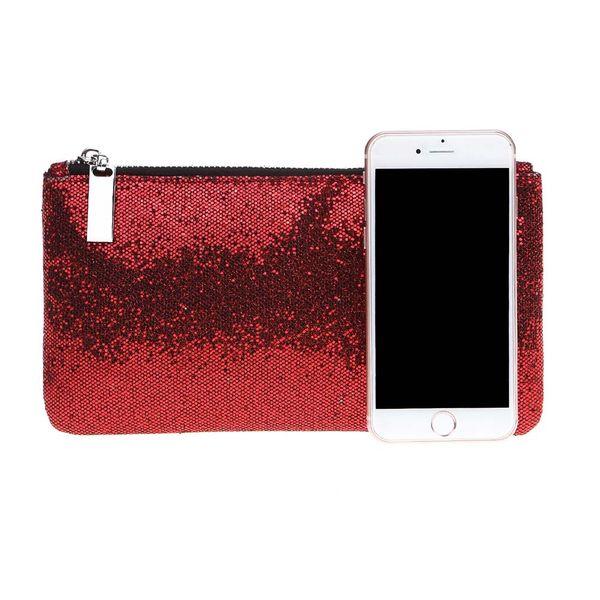 New Arrival Women Female Red Sequins Makeup Bag Cosmetic Organizer Fashion Ladies Girls Handbag Glitter Bling Bags Popular AB@W3
