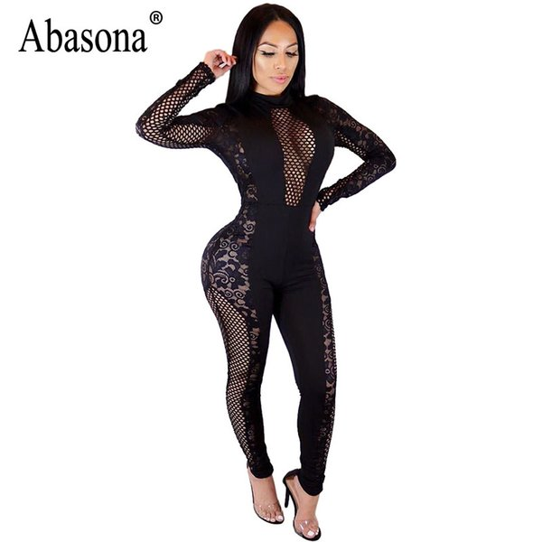 d39864149a4 wholesale Women Black Lace Jumpsuits Rompers Long Sleeve Hollow Out Party  Overalls Spring 2018 Sexy Skinny