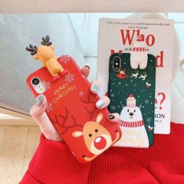 Christmas Tree Santa Claus Snowman Cute Cartoon Gift Phone Cases For iPhone XS Max X XR 8 7 6S Plus Soft TPU Cover