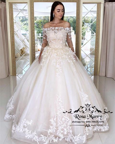 Princess Lace Ball Gown Wedding Dresses 2019 Off Shoulder Long Sleeves 3D Floral Victorian Princess Vestido De Novia Bridal Gowns