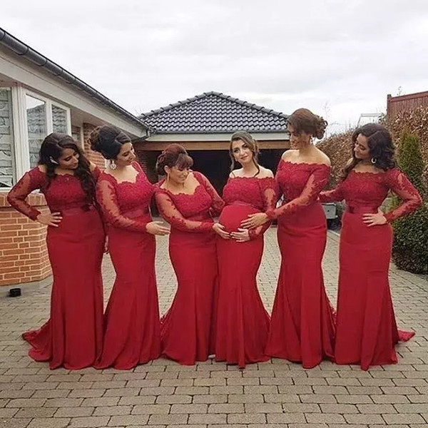 New Arabic African Style Red Bridesmaid Dresses Plus Size Maternity Off Shoulder Long Sleeves Prom gowns Pregnant Formal Dresses
