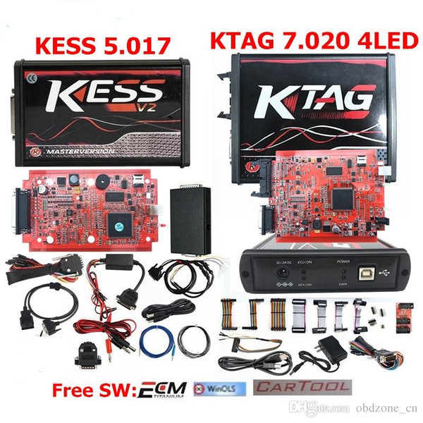 New 4LED KTAG V7.020 Red PCB EU Online Version KESS 5.017 SW2.47 Chip Tuning Works Cars/Trucks