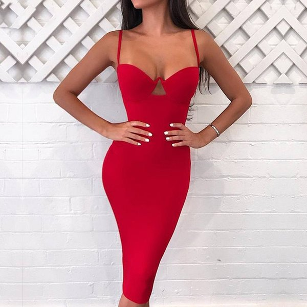 Winter Sexy Women Spaghetti Strap Bandage Dress 2018 Runway Sleeveless Female Celebrity Party Club Bodycon Long Dresses Clothing