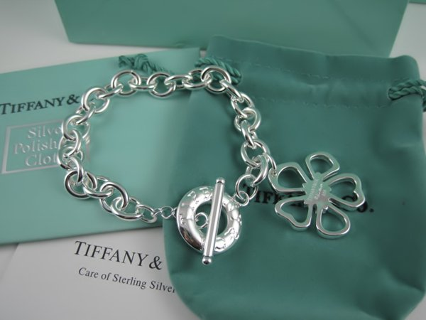 High Quality Celebrity design 925 Silverware Silver Chain bracelet Women Letter Flowers Clover Bracelets Jewelry With dust bag Box