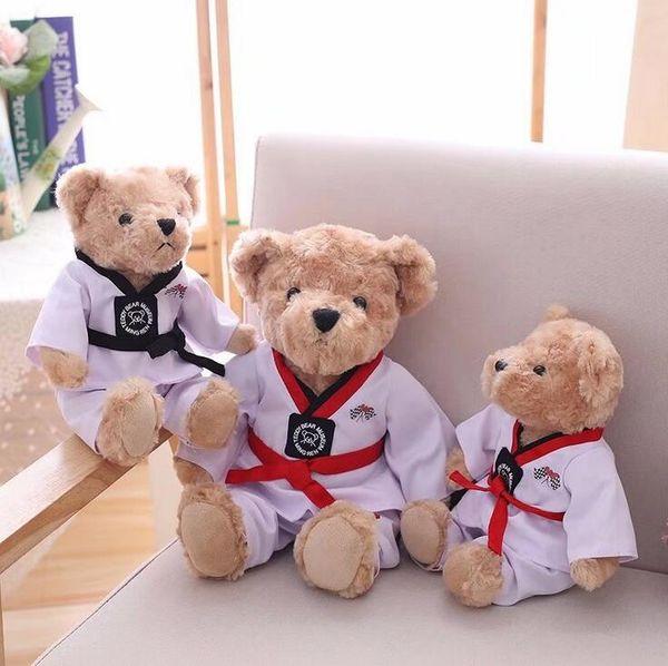 30cm 40cm bear plush toys stuffed soft teddy bear doll kids toys plush couple bear wear taekwondo clothes child birthday gift
