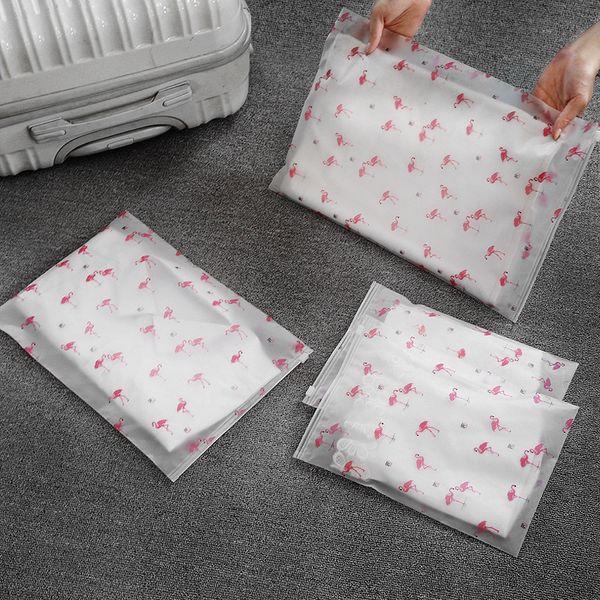 HIPSTEEN Travel Storage Bags Flamingo EVA Zipper Organizer Bag for Clothing Underwear Socks Shoes Bag Housekeeping Transparent