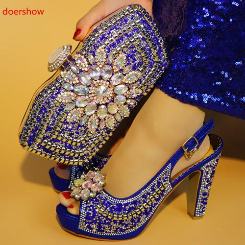 Blue New Arrival Italian Style Women Shoes And Bag Set Hot Sale Rhinestone High Heels Shoes And Evening Bag Set For Party M-3210