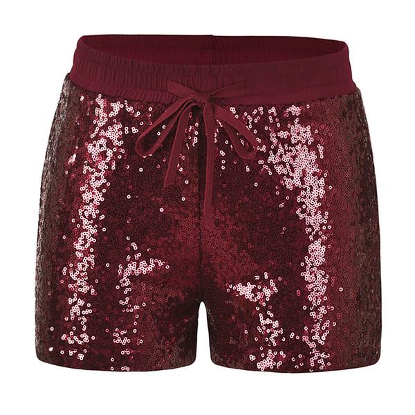 Mode Femmes Paillettes Shorts Poches élastiques à la taille Sexy Shorts d'automne Slim Shorts chauds étincelants Argent / Bordeaux / Or Short Femme
